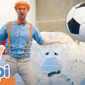 Blippi Plays a Game of Bubble Ball | Educational Videos For Children