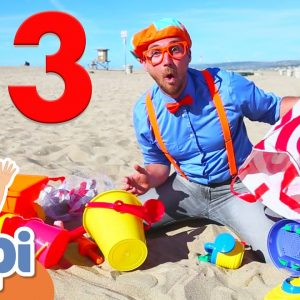 Blippi Visits The Beach and Learns Numbers | Educational Videos For Kids