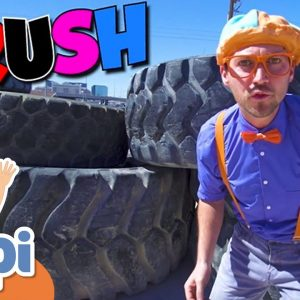 Learning Verbs With Blippi And The Excavator Digger | Construction Vehicles For Kids