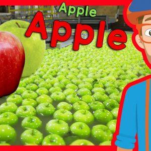 Fruit for Kids with Blippi | Apple Fruit Factory Tour