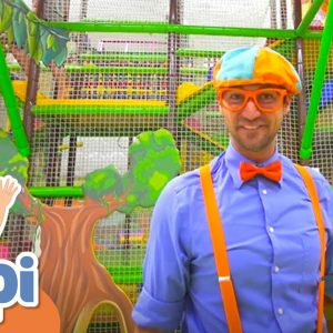 Blippi Visits The Play Place Indoor Playground | Learning Colors & Shapes For Kids With Blippi