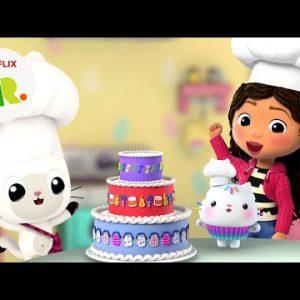 Cakey's Bakery Cute Cake Baking 🎂 Gabby's Dollhouse | Netflix Jr