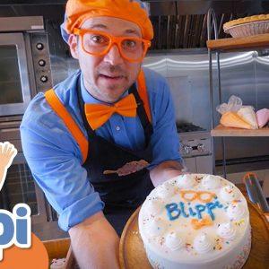 Blippi's Bakes a Birthday Cake! Blippi Visits a Bakery | Educational Videos For Kids