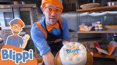 Blippi's Bakes a Birthday Cake! Blippi Visits a Bakery   Educational Videos For Kids
